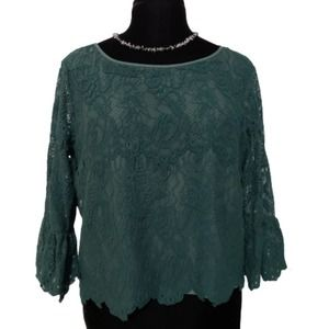Adrienne Vittadini Green Lace Bell Sleeve Blouse